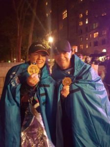 Daughter and dad at the end of the New York marathon!